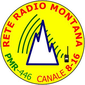 Adesivo ufficiale Rete Radio Montana – base giallo – Kit 5 pezzi