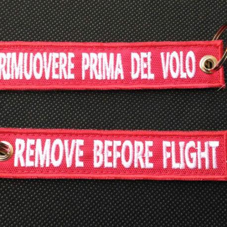 Portachiavi Ricamati personalizzati - Remove Before Flight